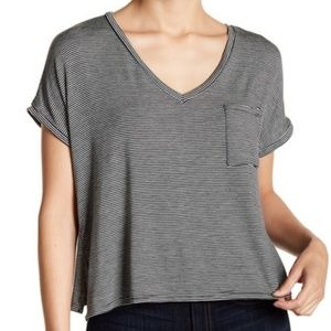 PST by Project Social T Striped V-Neck Pocket Tee